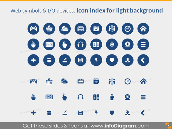 IT website devices icons PPTX light background