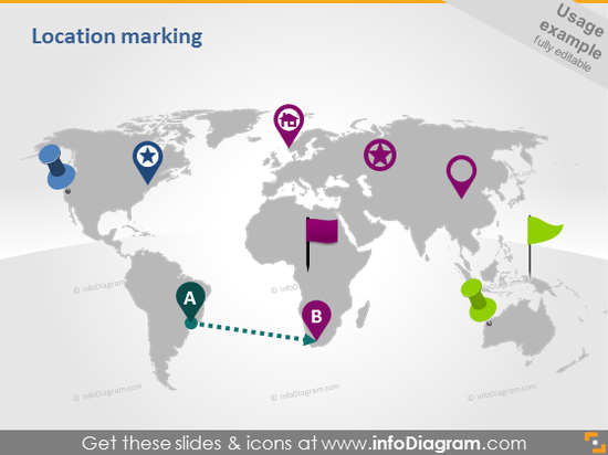 transportation routes types pins location map clipart ppt