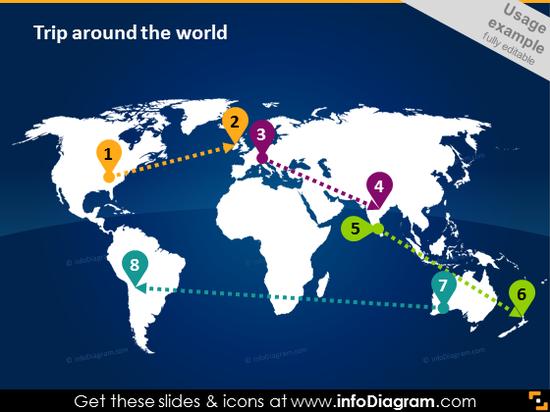 white world map location infographics pptx
