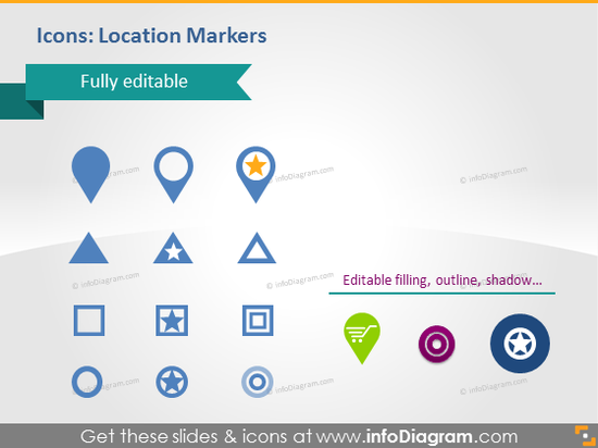place position location map markers star pins pptx clip art