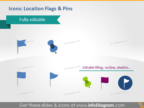 blue green location flags map pins marker powerpoint icons