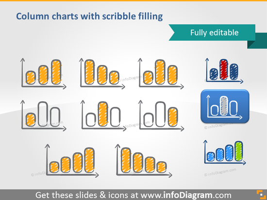 scribble bar chart symbols handwritten pictograms icons ppt clipart