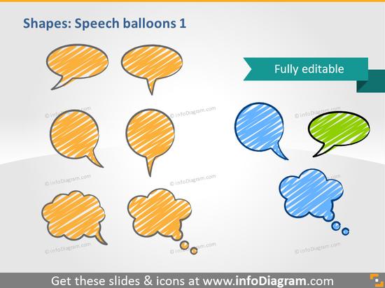 handdrawn speech balloons scribble powerpoint