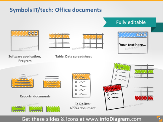 office docs handdrawn scribble sheet table todo ppt icon
