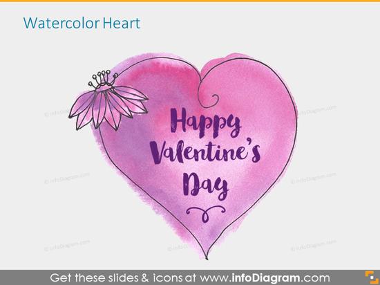 Drawn Heart Shape Valentine Icons pptx clipart