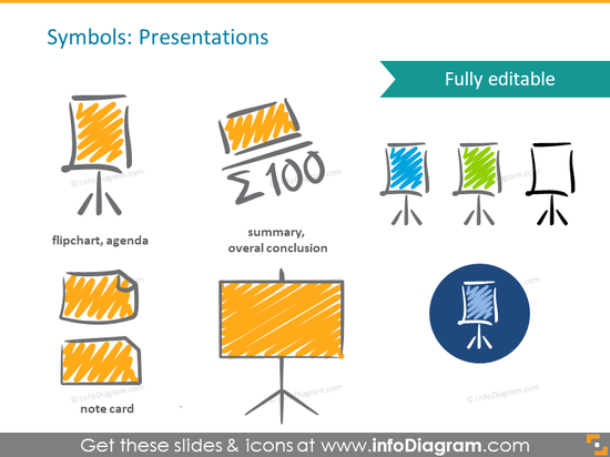 scribble presentation flipchart symbols handwritten pictograms icons ppt c…