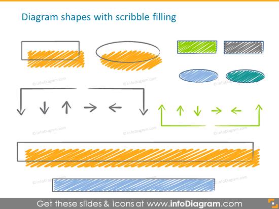 diagram scribble handwritten shapes filling icons ppt clipart