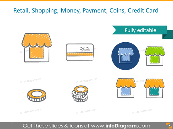 Retail: shopping, money, payment, coins, credit card