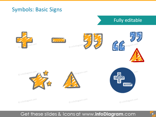 scribble basic signs quotation mark handwritten pictograms icons ppt clipa…