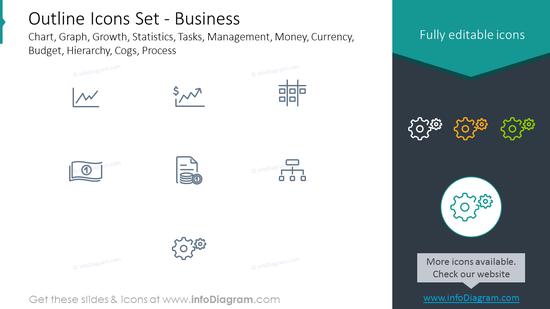 Outline icons set: graph, growth, statistics, tasks, management