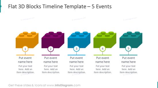 Flat 3D blocks timeline template placing 5 events