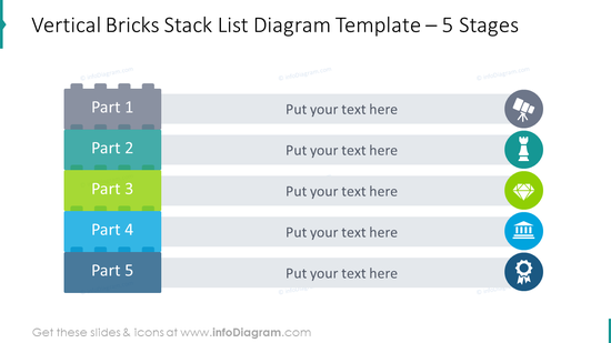 5-staged vertical stack list diagram with flat icons