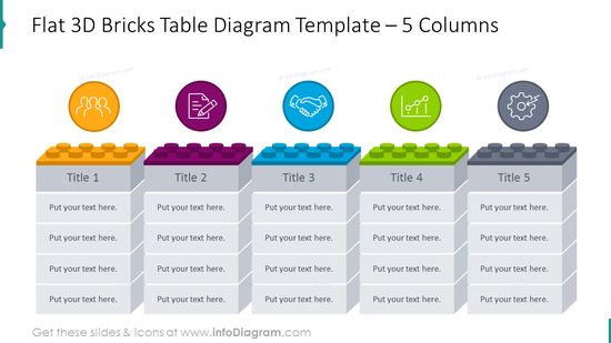 3D bricks table diagram with flat icons illustrating 5 columns