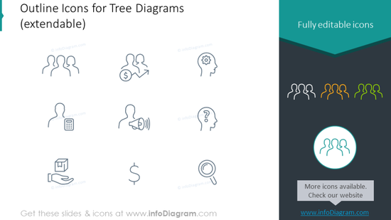 Example of the outline icons for tree diagrams