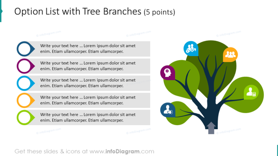 Option List illustrated with five tree branches