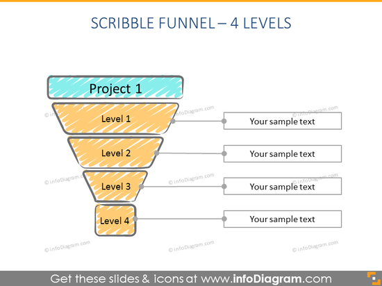 4 step scribble creative Funnel Infographics