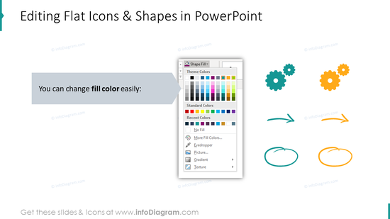 Editability of flat icons and shapes in PowerPoint