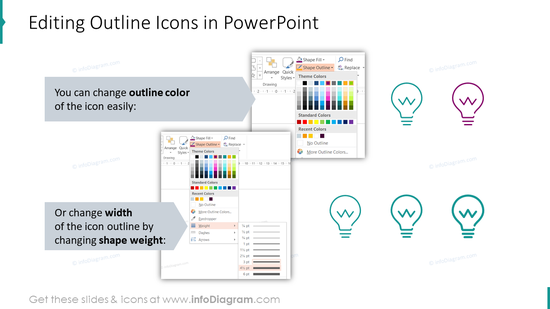Editability of outline icons and shapes in PowerPoint