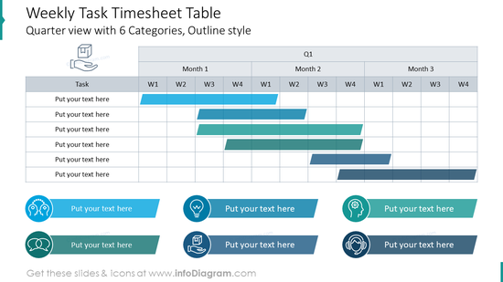 Weekly task timesheet table with outline icons