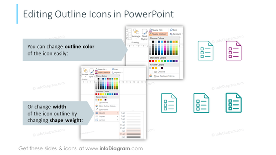 Example of the editable outline icons