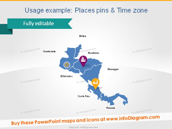 Central America places map pin icon pictogram powerpoint