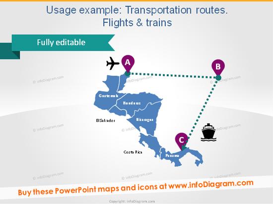 latin america map transport route flight train ppt