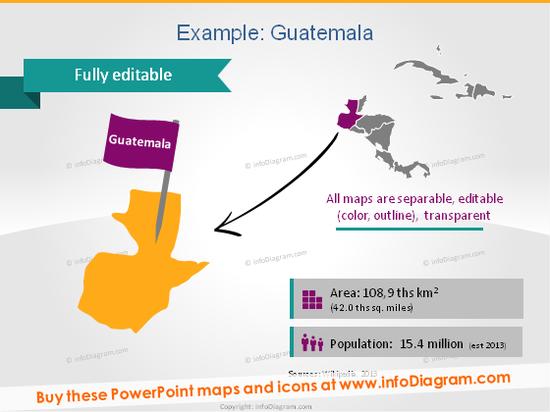 Guatemala Map PPT Demographics Population Area icons