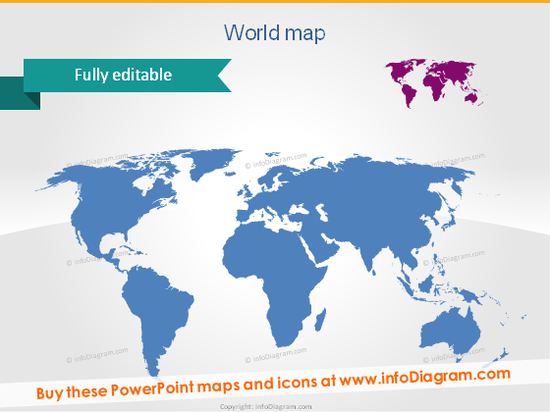 World Map Central America Caribbean Region PPT clipart