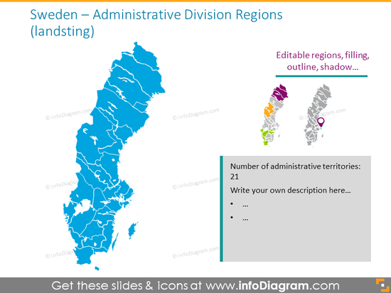 Sweden administrative division region map