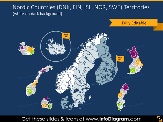 Nordic countries map on the dark background
