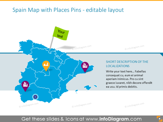 Spanish map illustrated with places pins
