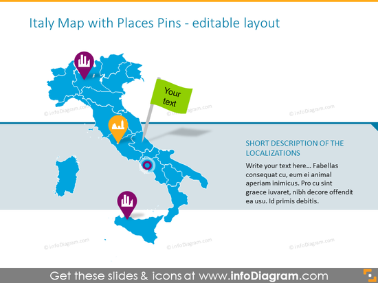 Italy places pins map