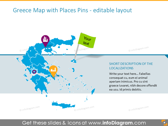 Greece places  with places pins