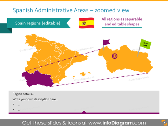 Spanish administrative areas map