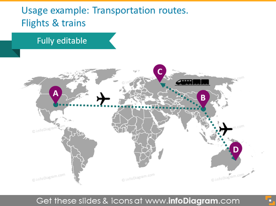 world map transport route flight train powerpoint