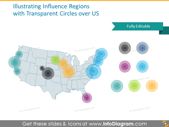 USA map influence region circle area powerpoint