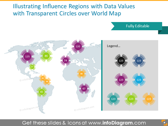 global influence region data illustration PowerPoint radial transparent ci…