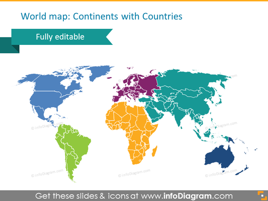 countries world continents map powerpoint shape