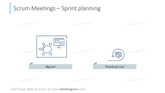 Scrum meeting icons intended to show sprint planning