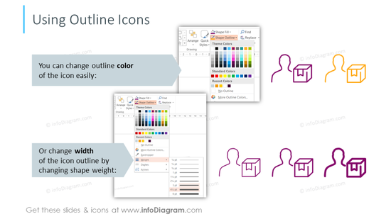 Example of using outline icons
