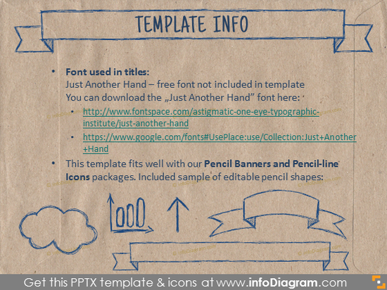 brown ecopaper powerpoint template info handdrawn font