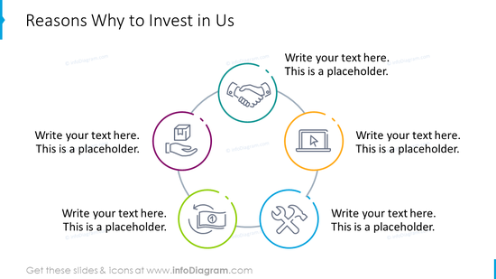 Reasons slide: why to invest in company with outline icons