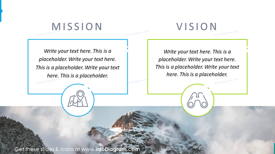 Startup pitch mission and vision graphics with text placeholders