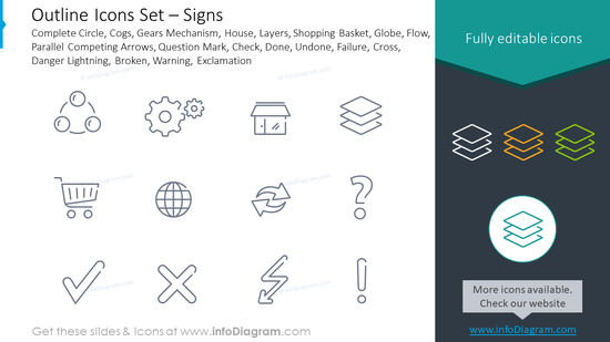 Outline icons: cogs, gears mechanism, house, layers, shopping basket