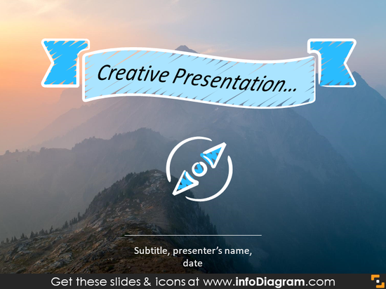 Headline slide illustrated with wave presentation title