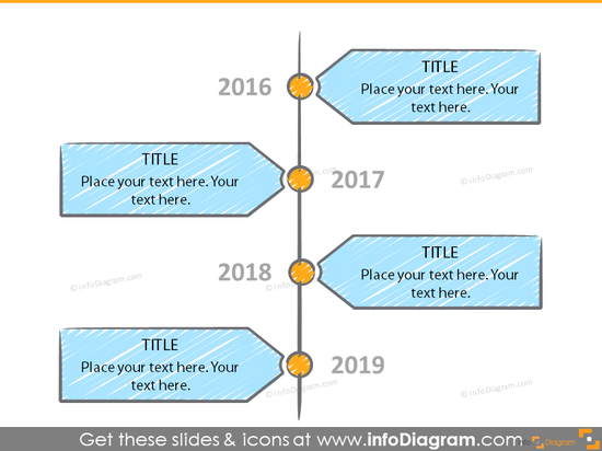 Example of the timeline template illustrated with  rectangles