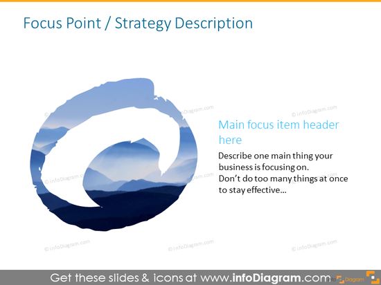 Focus point slide illustrated with symbol and text description