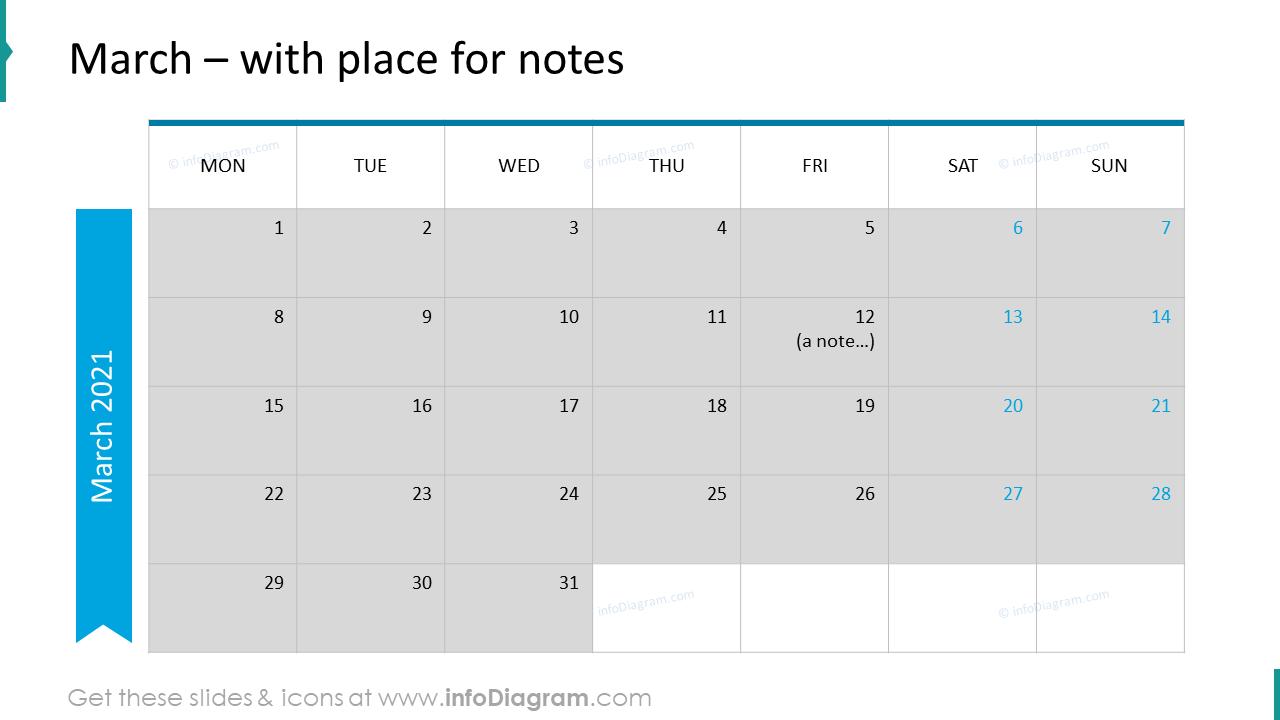 March Calendars 2020 EU with notes plan