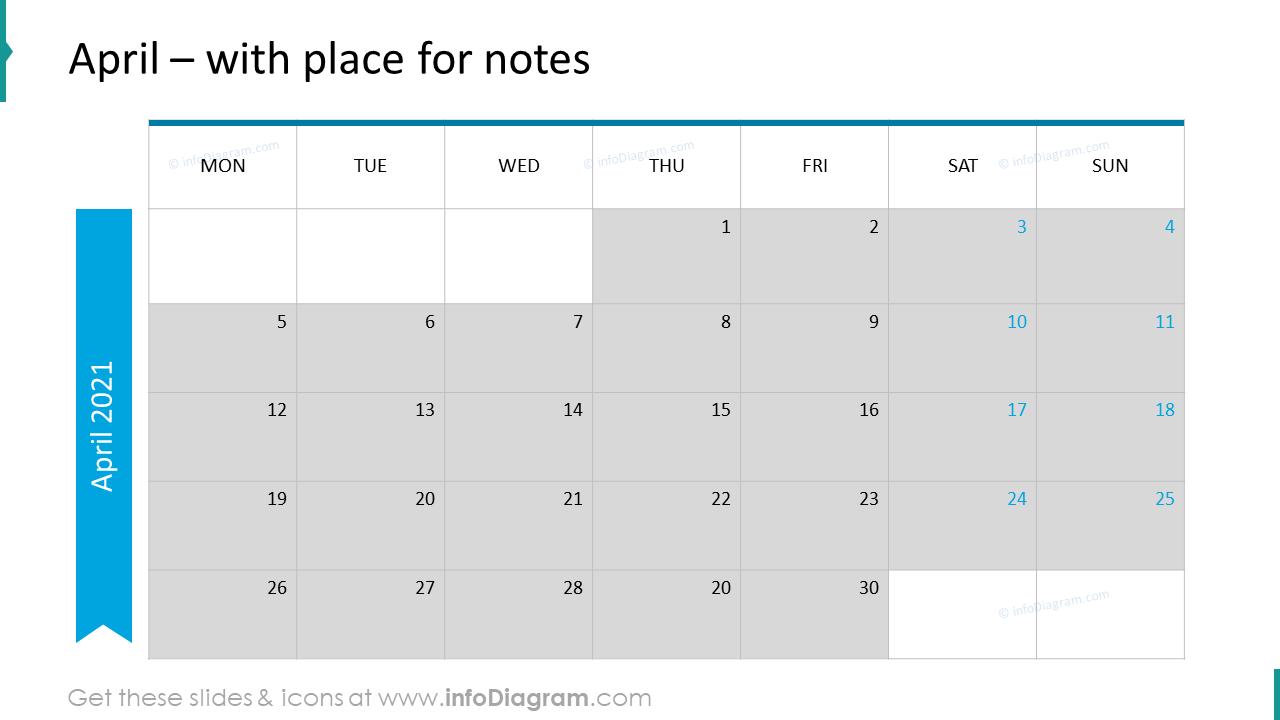 April Calendars 2020 EU with notes plan
