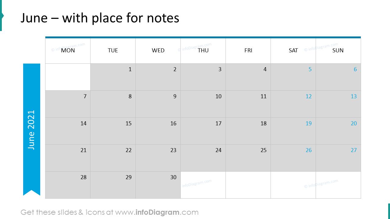 June Calendars 2020 EU with notes plan